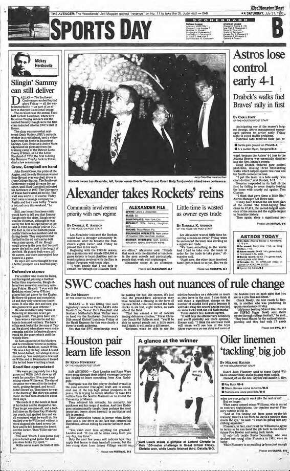 LES ALEXANDER BUYS THE ROCKETSThe Houston Post's sports section cover on July 31, 1993 when Les Alexander took over the Rockets after buying the franchise for $85 million. Photo: Houston Chronicle Files