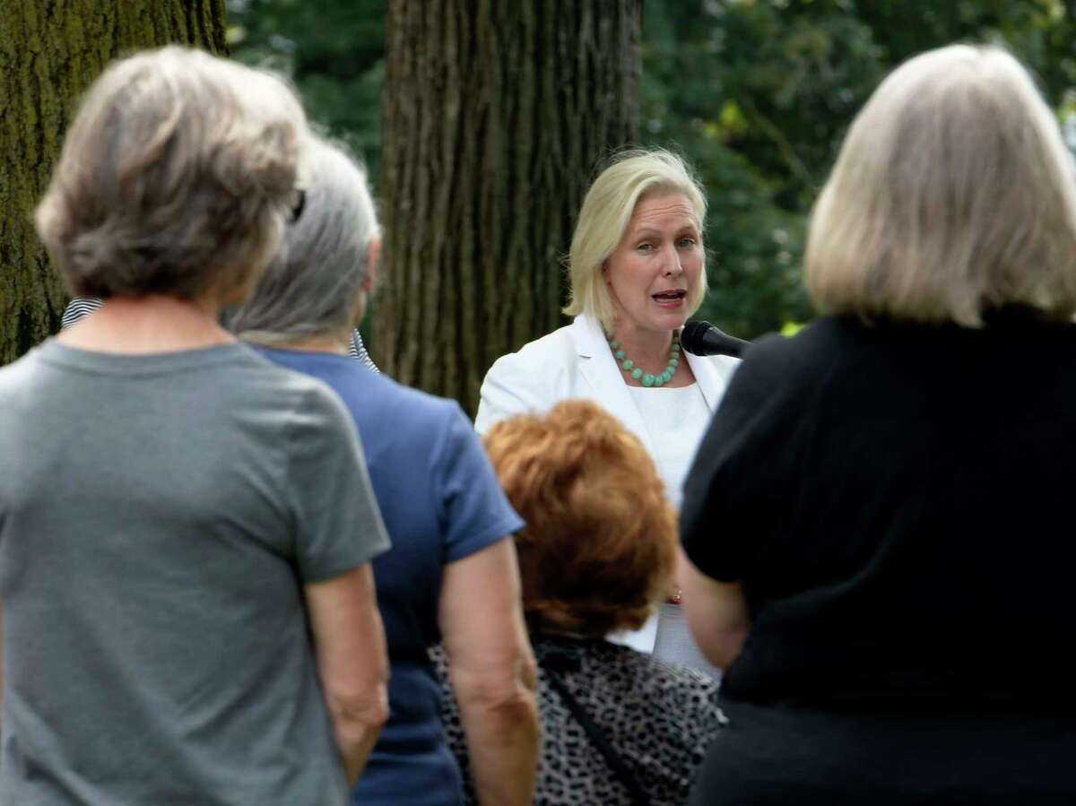 U.S. Senator Kirsten Gillibrand speaks during a press conference in Juckett Park on Monday, July 17, 2017, in Hudson Falls, N.Y., to announce the Trump Administration has begun to establish the Tick-Borne Disease Working Group, a key provision in her Lyme and Tick-Borne Disease Prevention, Education, and Research Act, which became law as a part of the 21st Century Cures Act in December 2016. The Tick-Borne Disease Working Group will review all federal activities related to tick-borne diseases, including Lyme disease, and will function as a Federal Advisory Committee to the Department of Health and Human Services. (Skip Dickstein/Times Union)