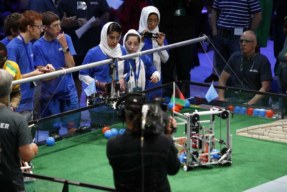 The Afghanistan girls team competes in the First Global Robotics Challenge, Monday, July 17, 2017, in Washington. The challenge is an international robotics event with teams from over 100 countries. (AP Photo/Jacquelyn Martin) Photo: Jacquelyn Martin, Associated Press