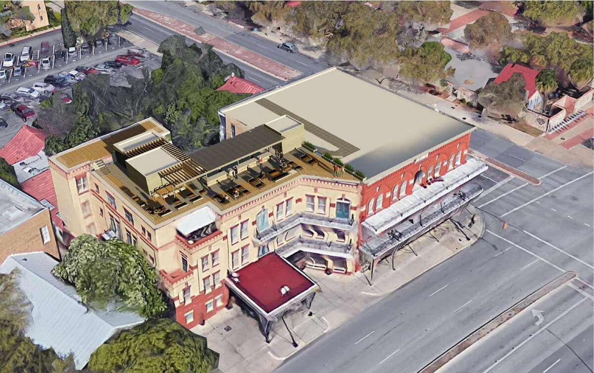 This is a rendering of the aerial view of the proposed rooftop bar at the Fairmount Hotel at 401 South Alamo St. The shaded bar will have elevator access, mobile seating and an enclosure for storage and restrooms.