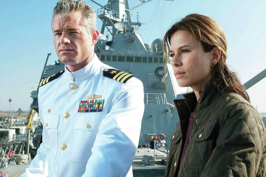 Eric Dane and Rhona Mitra, The Last Ship | Photo Credits: Richard Foreman/SMPSP / TM & © Turner  Entertainment Networks, Inc.  A Time Warner Company. All Rights Reserved.