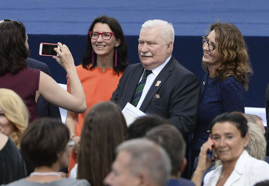 Poland's former president and legendary Solidarity freedom movement founder Lech Walesa attended President Trump's speech in Krasinski Square, in Warsaw, Poland, Thursday, July 6, 2017. Photo: Alik Keplicz, Associated Press