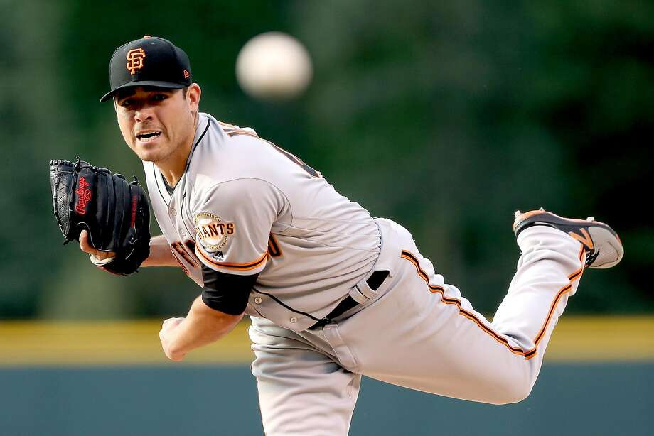 DENVER, CO - JUNE 15:  Starting pitcher Matt Moore #45 of the San Francisco Giants throws in the first inning against the Coloarado Rockies at Coors Field on June 15, 2017 in Denver, Colorado.  (Photo by Matthew Stockman/Getty Images) Photo: Matthew Stockman, Getty Images