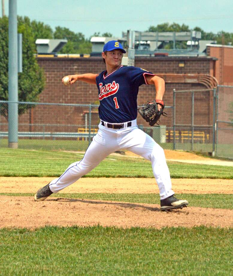 Zach Seavers of the Edwardsville Bears delivers a pitch during the first inning of Monday's game against Steeleville in the Fifth Division Tournament at Glik Park in Highland.