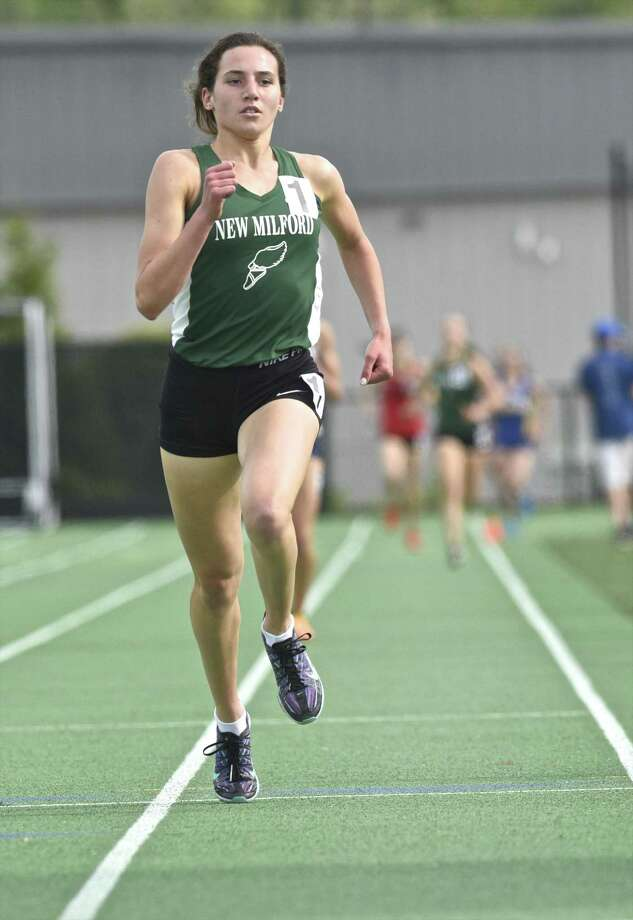 New Milford's Mia Nahom was voted the Hearst Connecticut Media's girls track MVP. Photo: H John Voorhees III / Hearst Connecticut Media / The News-Times