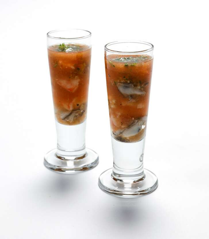 Jeremiah Tower�s Seafood Shooters (oysters, shrimp, bloody mary, vodka & a garnish of finely chopped parsley, garlic & lemon zest)  are seen on Tuesday, July 11, 2017 in San Francisco, Calif.