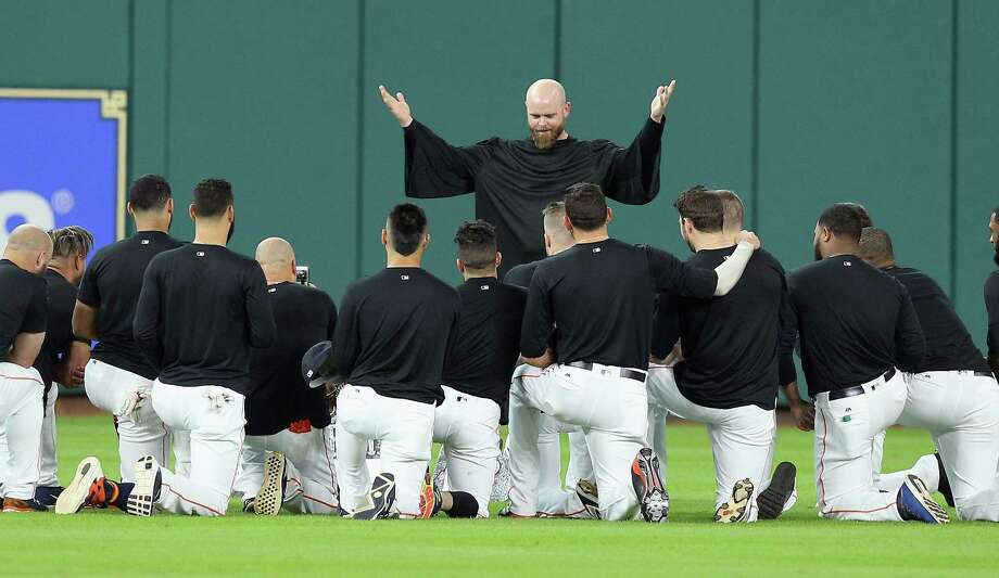 PHOTOS: The funeral for Carlos Beltran's gloveHOUSTON, TX - JULY 17:  Brian McCann #16 of the Houston Astros gives the eulogy for Carlos Beltran's glove in center field at Minute Maid Park on July 17, 2017 in Houston, Texas. Beltran has not played outfield since May 16.Browse through the photos for a look at the Astros' funeral for Carlos Beltran's glove before Monday's game. Photo: Bob Levey, Getty Images / 2017 Getty Images