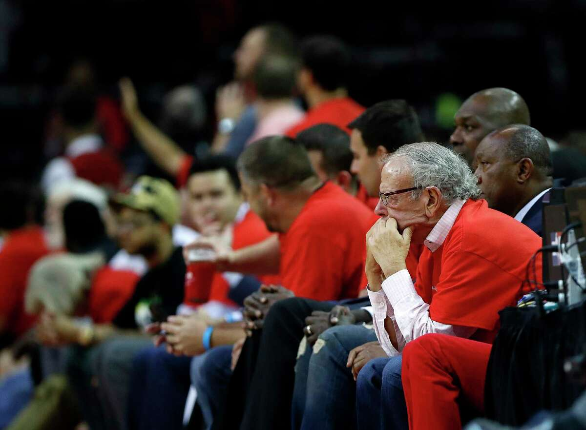 Houston Rockets owner Les Alexander sits on the sidelines in the second half of Game 5 of a Western Conference quarterfinals of the 2017 NBA playoffs, April 24, 2017, in Houston. ( Karen Warren / Houston Chronicle )