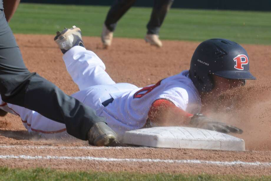 Plainview's Carson Hauk gets a face full of dirt as he dives back to first base during a game this season. The junior shortstop is on the ballot for the Texas Sports Writers Association (TSWA) Class 5A all-state team. He previously was voted the third team shortstop on the Texas High School Baseball Writers Association team. Three area players are on the Class 2A ballot -- Floydada catcher Michael Crone, Abernathy third baseman Nathan Sullivan and Lockney's Jonathan Rodriguez as a designated hitter. Results of the voting will be announced later this month. Photo: Skip Leon/Plainview Herald