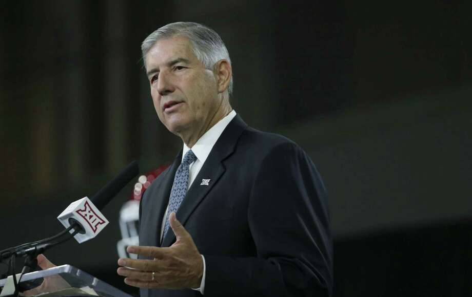 Commissioner Bob Bowlsby speaks to reporters during the Big 12 football media days at the Dallas Cowboys practice facilities in Frisco on Monday, July 17, 2017. Photo: LM Otero /Associated Press / Copyright 2017 The Associated Press. All rights reserved.