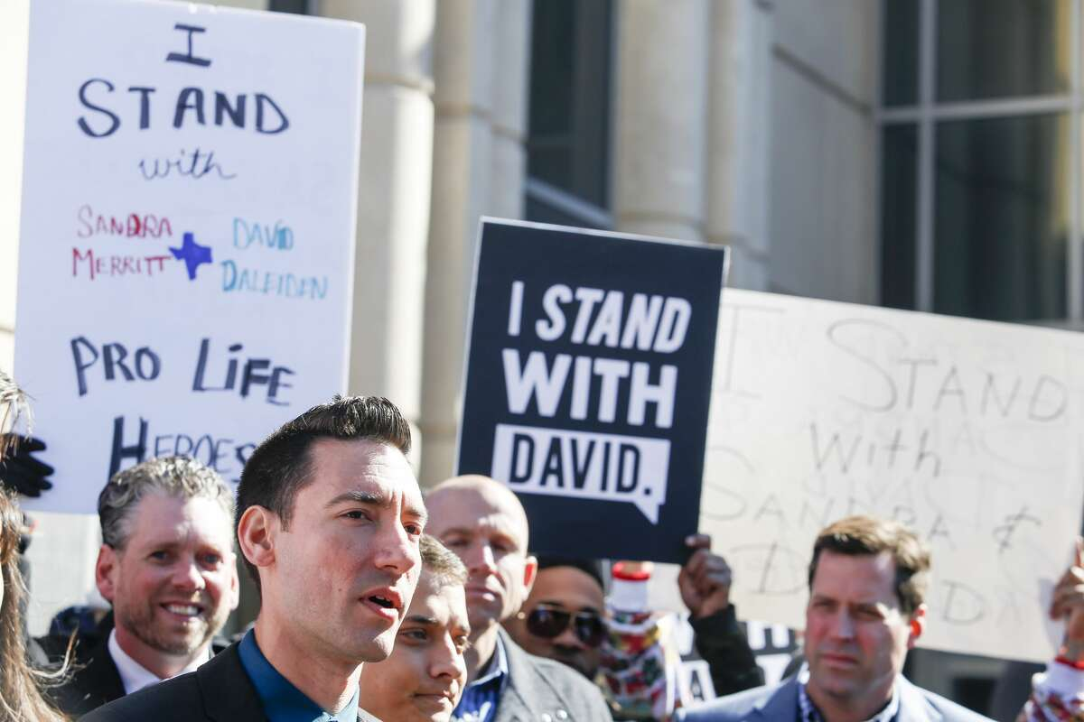 David Daleiden, a defendant in an indictment stemming from a Planned Parenthood video he helped produce, speaks to the media after appearing in court at the Harris County Courthouse on February 4, 2016 in Houston, Texas.