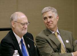 Associate Supreme Court Justice Neil Gorsuch, right, sits on a panel next to Sidney Thomas, Chief Judge of U.S. Court of Appeals for the Ninth Circuit, during a civics program showcase at the 2017 Ninth Circuit Judicial Conference in San Francisco, Monday, July 17, 2017. (AP Photo/Jeff Chiu, Pool)