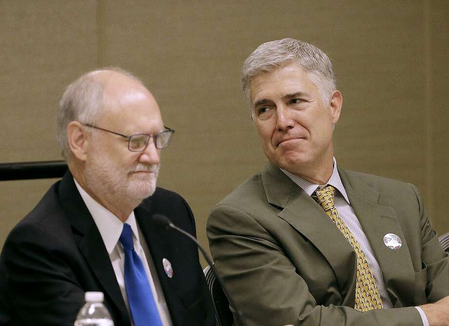 Supreme Court Justice Neil Gorsuch (right) is a panelist with Ninth Circuit Court of Appeals Chief Judge Sidney Thomas. Photo: Jeff Chiu, Associated Press