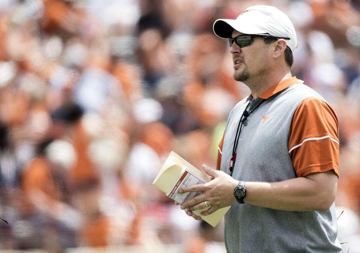 Texas coach Tom Herman looks on during the Orange-White spring game on April 15, 2017, at Royal-Memorial Stadium in Austin.