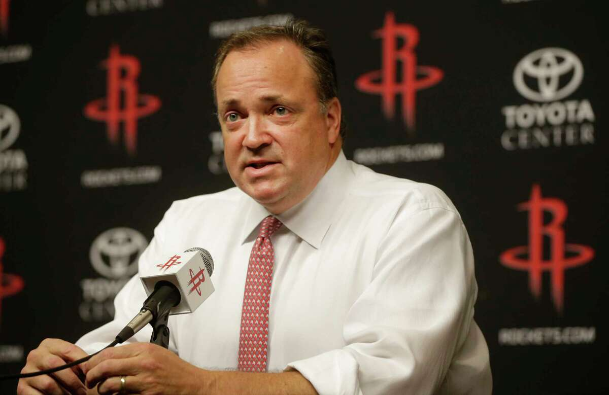 Tad Brown, CEO of the Houston Rockets, annouces that owner Les Alexander is selling the NBA team shown during media conference at Toyota Center, 1510 Polk Street, Monday, July 17, 2017, in Houston. ( Melissa Phillip / Houston Chronicle )