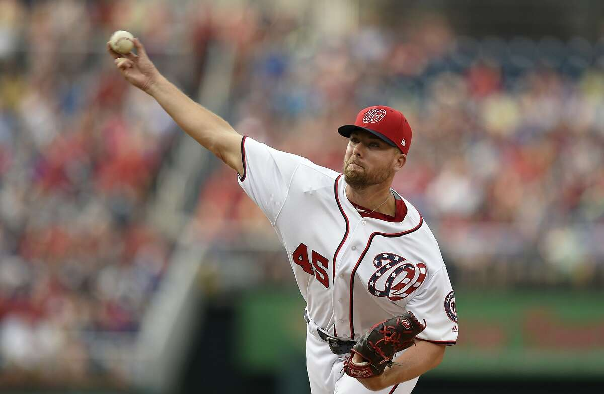 Washington Nationals relief pitcher Blake Treinen delivers a pitch during a baseball game against the Chicago Cubs, Thursday, June 29, 2017, in Washington. The Cubs won 5-4. (AP Photo/Nick Wass)