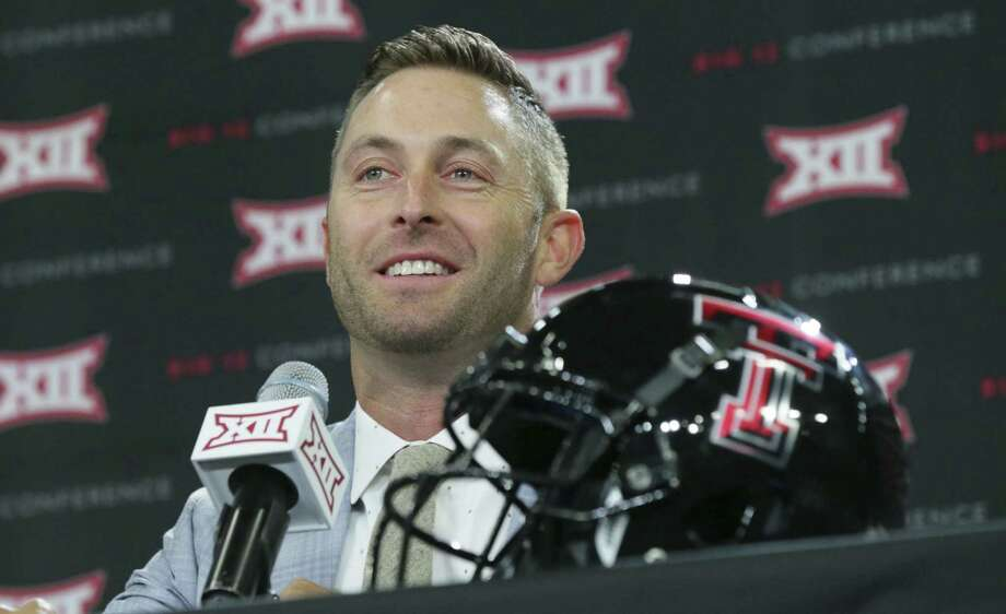 Texas Tech coach Kliff Kingsbury smiles as he listens to a question Monday. His Red Raiders were picked to finish eighth in the 10-team league by members of the media who cover the conference. Photo: LM Otero / Associated Press / Copyright 2017 The Associated Press. All rights reserved.