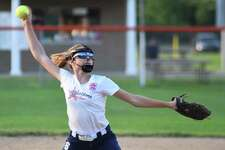 Westport pitcher Natasha Taubenheim fires the ball to the plate during Monday's state Little League softball semifinal against Shelton at Elmridge Park in Rocky Hill. Taubenheim struck out eight in a complete-game 4-1 win to send Westport to the championship game.