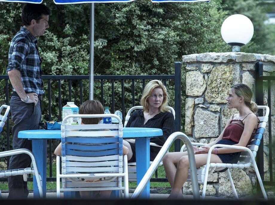 "Jason Bate man (left), Skylar Gaert ner, Laura Linney and Sofia Hublitz in ""Ozark."" Photo: Jackson Davis/Netflix / Jackson Davis / Netflix"