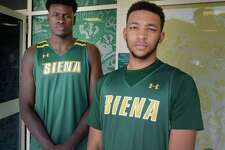 Siena College incoming freshmen Prince Oduro, left, and Christian Bentley pose for a photo at the Marcelle Athletic Complex on the Siena College campus on Monday, July 17, 2017, in Loudonville, N.Y.    (Paul Buckowski / Times Union)