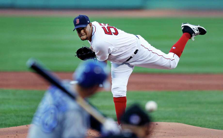 Boston Red Sox starting pitcher Eduardo Rodriguez delivers during the first inning of the team's baseball game against the Toronto Blue Jays at Fenway Park in Boston, Monday, July 17, 2017.(AP Photo/Charles Krupa) ORG XMIT: MACK105 Photo: Charles Krupa / Copyright 2017 The Associated Press. All rights reserved.