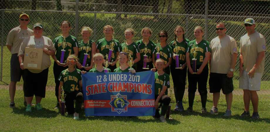 The New Milford Chaos U12 Babe Ruth softball team won the state championship and placed second in the New England regional. Top row left:   Head coach Joe Vaughey, assistant Dawn Curry, Emma Deakin, Carly Lynch, Sydney Scalzo, Jordan Beebe, Sadie Mellen, Allison Neak, Shelby Curry, Meaghan Sheedy, assistant Frank Antonucci, assistant Chuck Lynch. Bottom row: Mia Antonucci, Caroline Staller, Michelle Thomas, Charlie Vaughey. Photo: Contributed / Photo