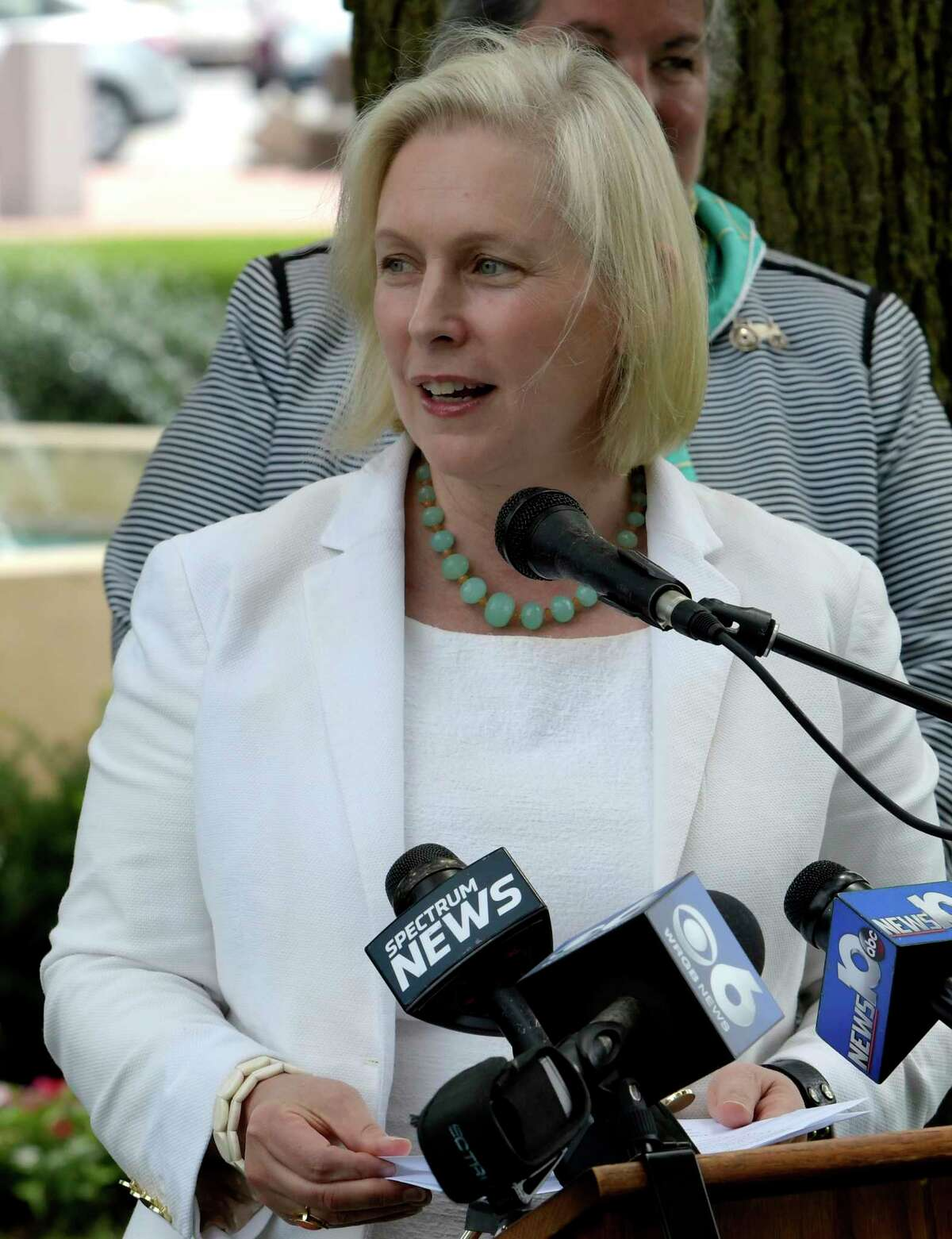 U.S. Senator Kirsten Gillibrand held a press conference in Juckett Park Monday July 17, 2017 in Hudson Falls, N.Y. to announce the Trump Administration has begun to establish the Tick-Borne Disease Working Group, a key provision in her Lyme and Tick-Borne Disease Prevention, Education, and Research Act, which became law as a part of the 21st Century Cures Act in December 2016. The Tick-Borne Disease Working Group will review all federal activities related to tick-borne diseases, including Lyme disease, and will function as a Federal Advisory Committee to the Department of Health and Human Services. (Skip Dickstein/Times Union)