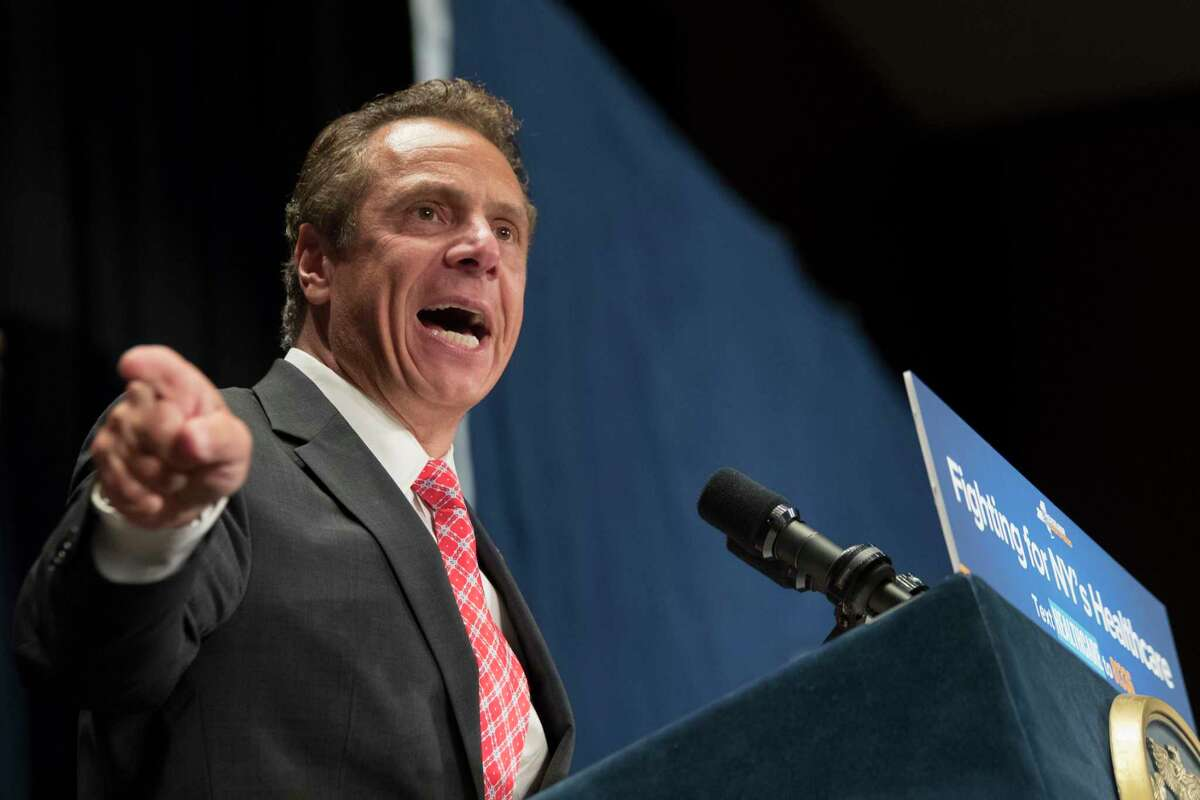 New York Governor Andrew Cuomo speaks during a rally in support of the Affordable Care Act and against the Senate replacement bill, Monday, July 17, 2017, in New York. (AP Photo/Mary Altaffer) ORG XMIT: NYMA104