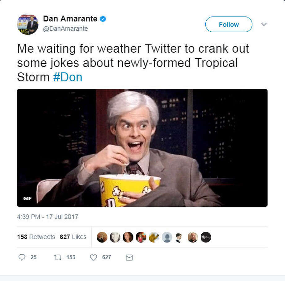 Though the National Hurricane Center considered its name mere coincidence, that didn't stop the troupe of Internet comedians to rally around Tropical Storm Don. Photo: File/Twitter