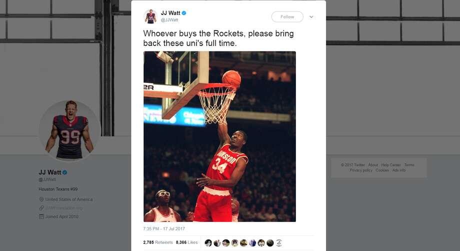J.J. Watt hopes a change in Houston Rockets ownership comes with a change in jersey. Click through to see Watt's fashion line. Photo: JJ Watt