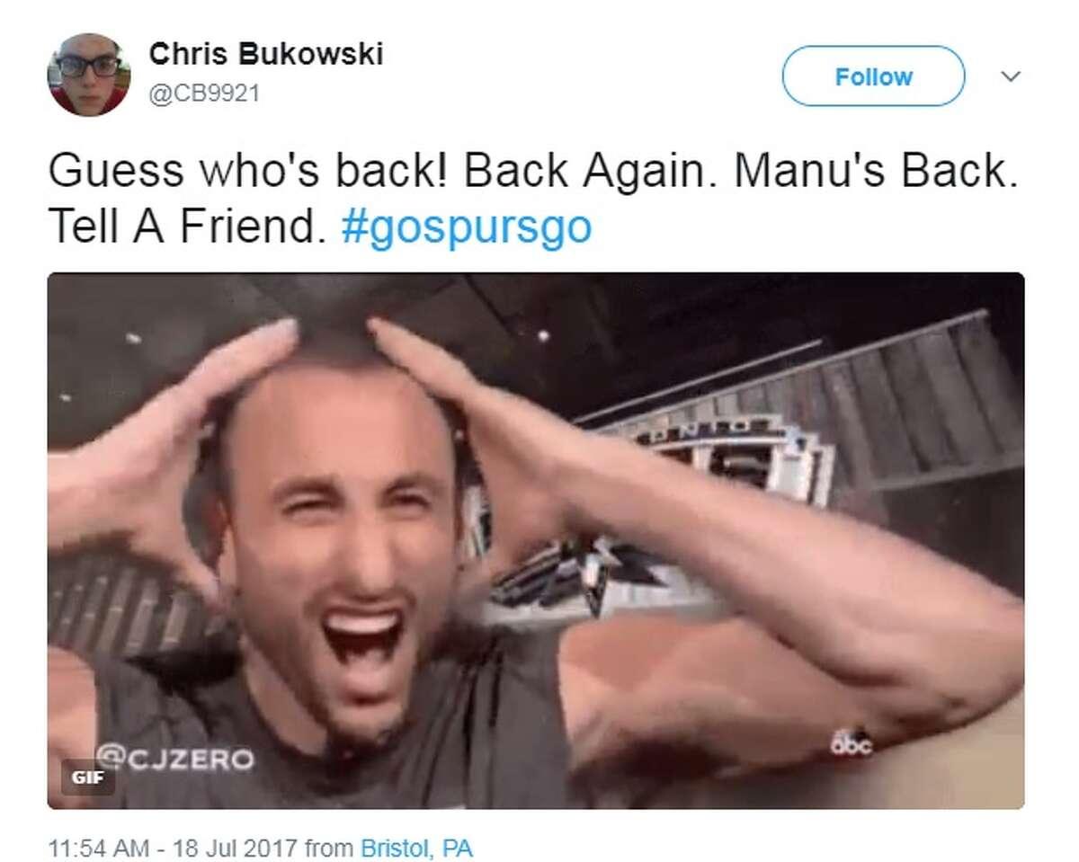 @CB9921: Guess who's back! Back Again. Manu's Back. Tell A Friend. #gospursgo