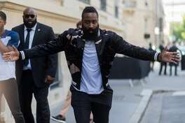 PARIS, FRANCE - JUNE 21: James Harden outside Valentino during Paris Fashion Week - Menswear Spring/Summer 2018 on June 21, 2017 in Paris, France. (Photo by Christian Vierig/Getty Images)