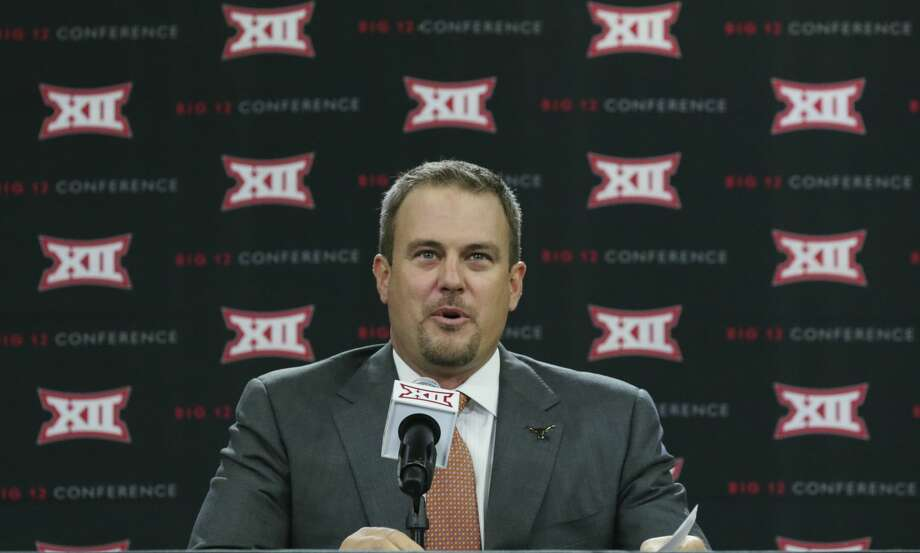 Texas head football coach Tom Herman speaks to reporters during the Big 12 NCAA college football media day in Frisco, Texas, Tuesday, July 18, 2017. (AP Photo/LM Otero) Photo: LM Otero/Associated Press