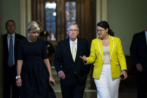 Senate Majority Leader Mitch McConnell (R-Ky.) walks off the Senate floor with staff members after speaking about the Senate Republican healthcare bill, at the U.S. Capitol in Washington, July 18, 2017. The night before, two more Republican senators declared that they would oppose the bill to repeal the Affordable Care Act, killing, for now, a seven-year-old promise to overturn President Barack Obama�s signature domestic achievement. (Doug Mills/The New York Times)