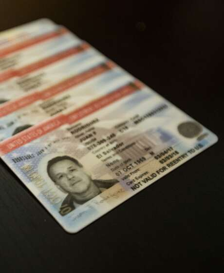 """Juan Rodriguez files taxes with an SSN issued in his name that specifically says """"Valid for work only."""" It's a temporary card that cannot be used for any other purpose but work with an authorization of the Department of Homeland Security. The photo shows Rodriguez´s work authorization, renewable every year. Photo: Marie D. De Jesús, Houston Chronicle"""