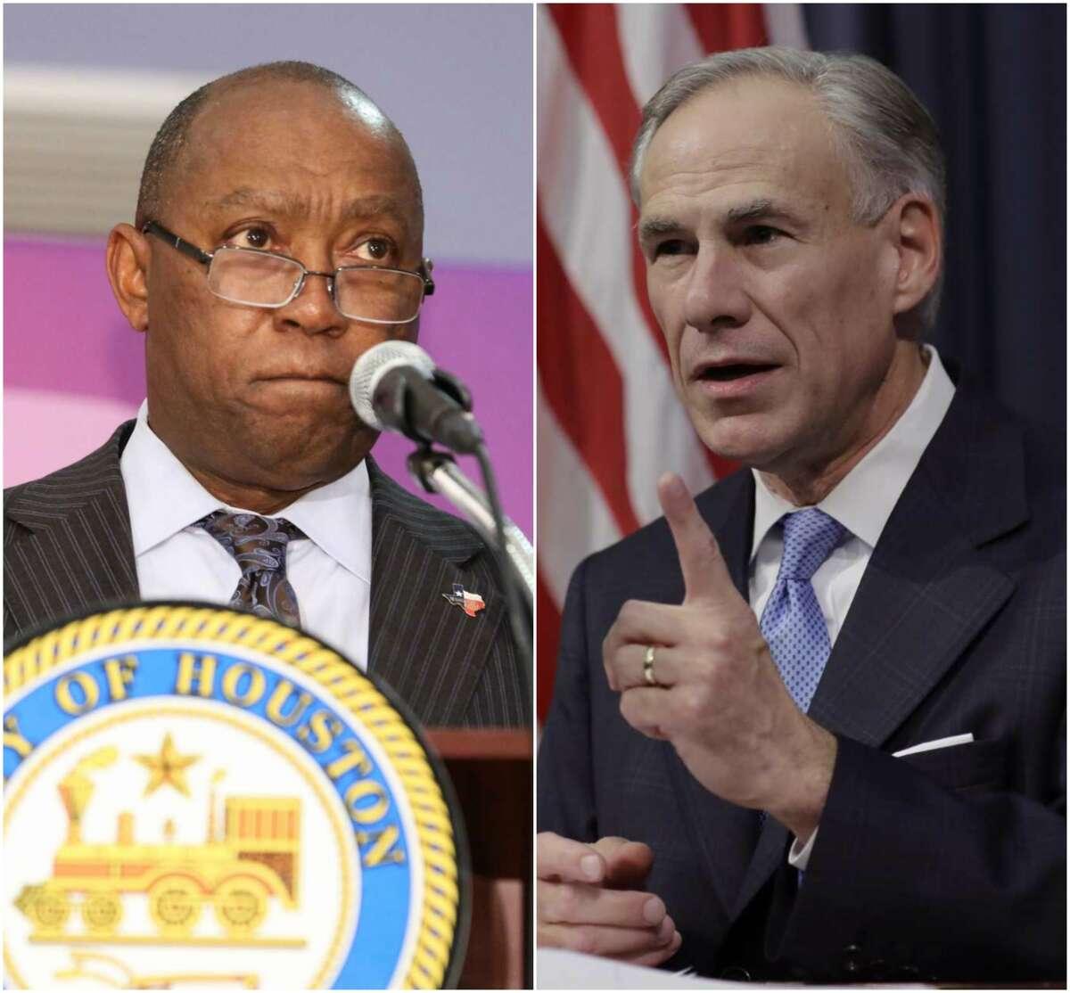 Houston Mayor Sylvester Turner, left, and Texas Gov. Greg Abbott