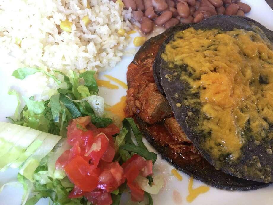 Blue corn enchiladas at Santa Fe Trail New Mexican Cuisine. Photo: Paul Stephen / San Antonio Express-News