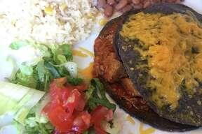Blue corn enchiladas at Santa Fe Trail New Mexican Cuisine.