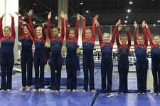 The Darien YMCA Level 7 National Champion team members were (L-R) Lana Schmidt, Holly McGoldrick (New Canaan), Paige Domenici, Leilani Nguyen, Bella DeStefano, Saskia Chermayeff, Kate Wolters, Tori Ware, Sofia DeStefano and Nadia Borja.