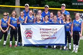 The Darien Little League 10U Softball District All-Stars won the Connecticut District I championship game Saturday over Wilton 10-0. This marks the third consecutive 10U title for Darien. It is also the first time since 2010 that both the 10U and 12U teams won the District title in the same year. The team advances to Sectional play against other district champs from Milford and Fairfield. Pictured left to right are players Claire Kissko, Isabelle Parr, Sofia Schimmeck, Kelly Neuner, Marney Rand-Sweeney, Brooke Cippoletti, Reagan Adiletta, Rachele Romano, Katherine Lindell, Katie Savino, Lauren Valji, Caera Cope and Gillie Prichard. Back row left to right are coach Antonio Romano, manager John Lindell and coach Duncan Prichard.