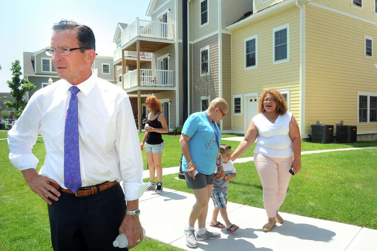 FILE: Governor Dannel Malloy attends at a ceremony marking the opening of Crescent Crossing, a new affordable housing development in Bridgeport, Conn. July 18, 2017.