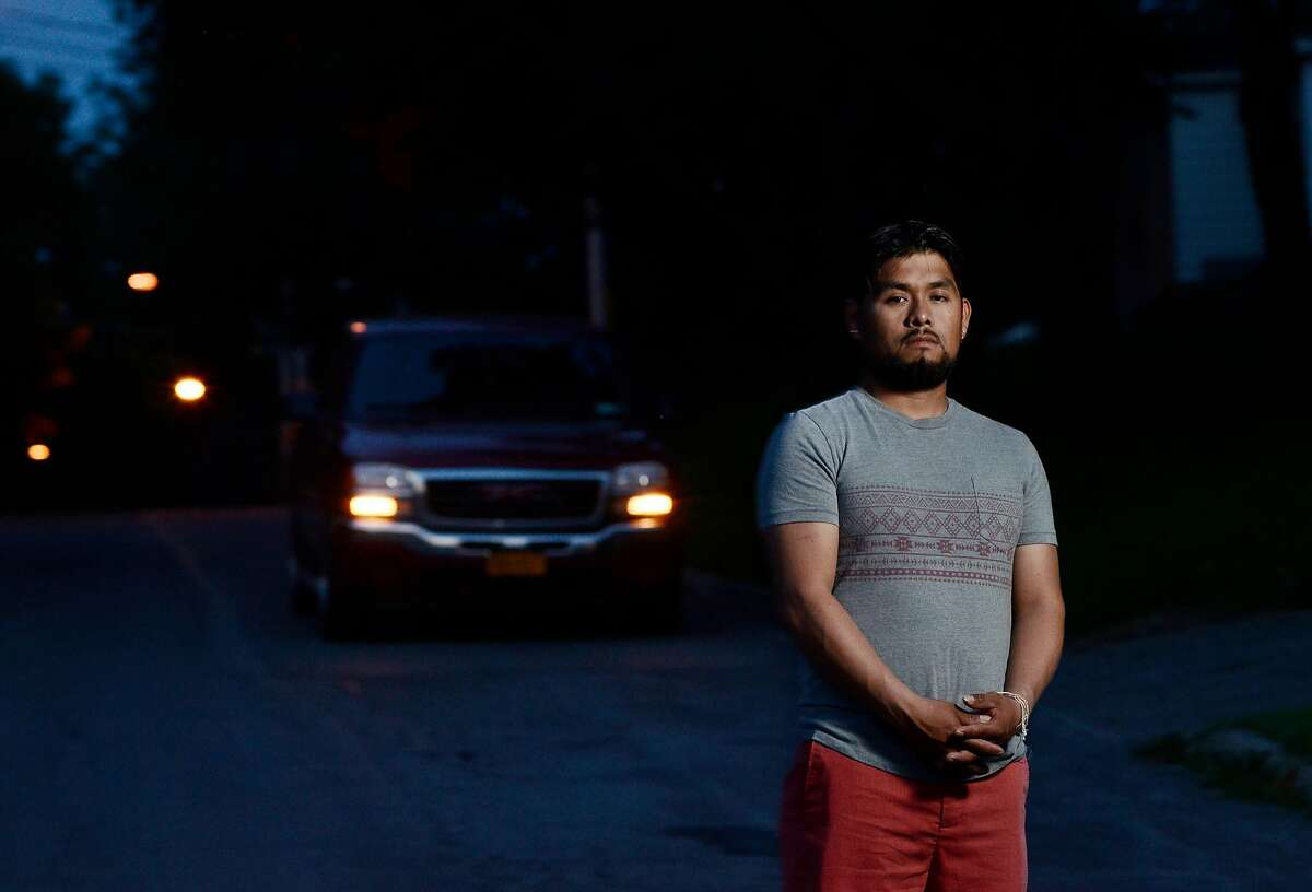 Luis Jimenez, a dairy worker who said he drives without a license, at home in Avon, N.Y., June 29, 2017. As many as 12 states, along with the District of Columbia and Puerto Rico, offer driver�s licenses for unauthorized immigrants, up from three in 2010. New York, which has the third-largest immigrant population in the country, is not one of them. (Heather Ainsworth/The New York Times)