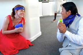 """San Antonio native Katie Leclerc is the female lead of original movie """"Party Boat,"""" coming to free streaming service Crackle later this summer. Here, she cuts up with her on-screen boyfriend played by Sung Kang."""