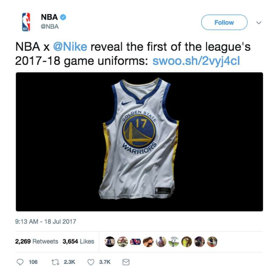 cf55619012 The Warriors' new jerseys for the upcoming season. Photo: NBA/Twitter