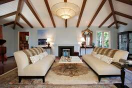 A vaulted, beamed ceiling finishes the living room at 80 Cambrain Ave. in Piedmont.