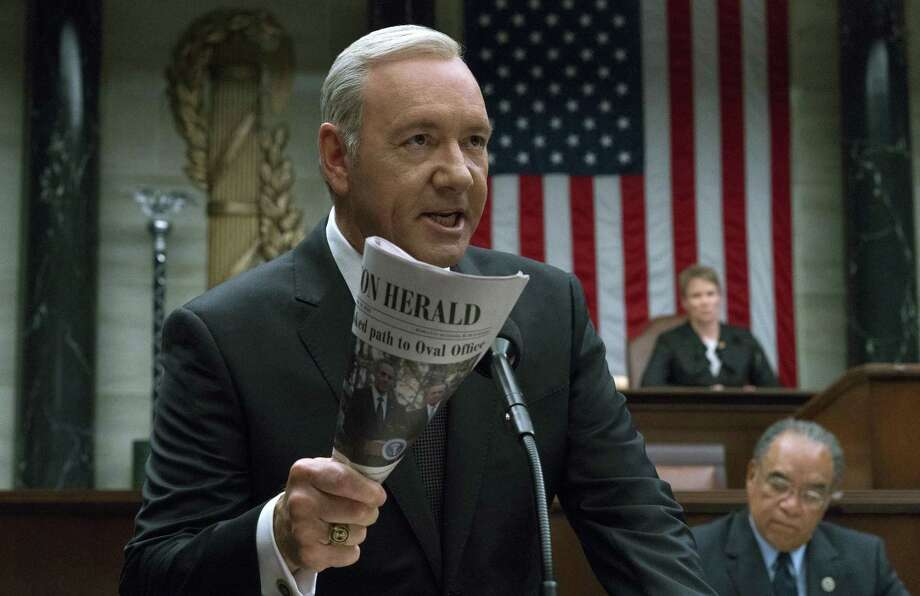 """Kevin Spacey in a scene from the Netflix series """"House Of Cards."""" The company's stock price jumped as much as 9.7 percent to $177 Tuesday in New York, its biggest increase since October. Photo: David Giesbrecht /Associated Press / Netflix"""