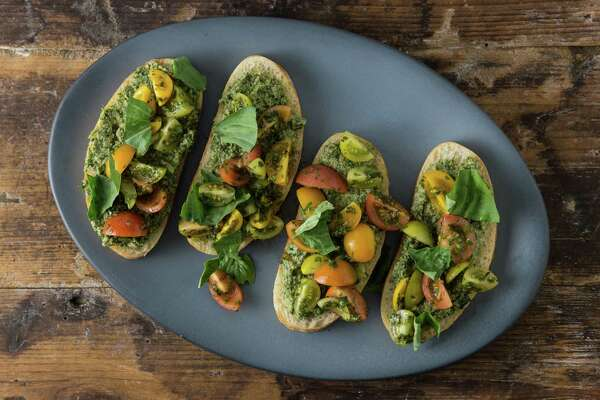 Kale and Cashew Pesto With Ciabatta and Heirloom Tomatoes.