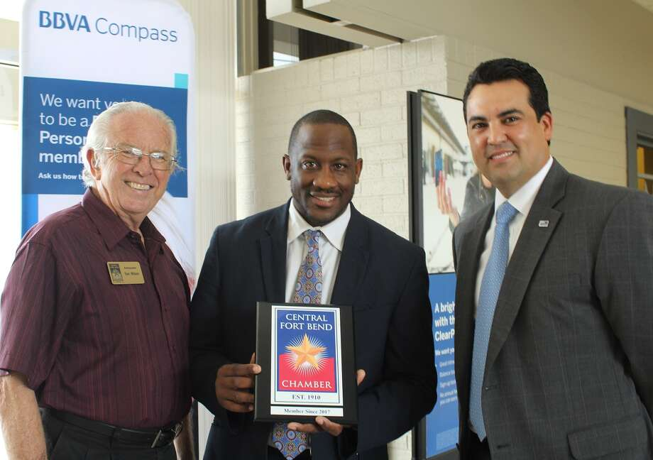 From left are Tom Wilson, Central Fort Bend Chamber Ambassador; Frederic Clark, BBVA Compass; and Michael Yanez, BBVA Compass. Photo: Central Fort Bend Chamber Of Commerce