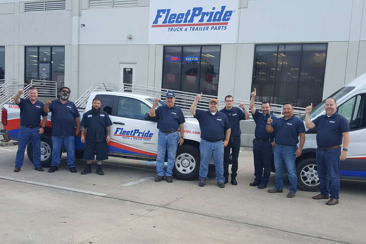 FleetPride employees show off the new Houston branch at 14900 Hempstead Road.