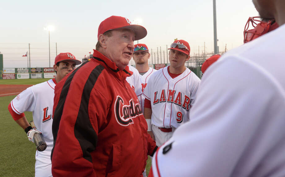 After 38 years as the Lamar Cardinals' head baseball coach, Jim Gilligan announced during a press conference Monday that he will retire at the end of the 2016 season. Lamar's head coach Jim Gilligan offers pre-game advice to his team before the start of their home opener against New Mexico State Friday night at Vincent Beck Stadium. Photo taken Friday, February 13, 2015 Kim Brent/The Enterprise   Manditory Credit, No Sales, Mags Out, TV Out, Web: AP Members only Photo: Kim Brent / Beaumont Enterprise
